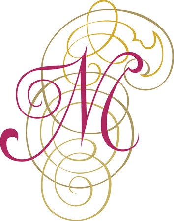 Calligraphic English alphabets, fashionable and stylish letter M Vector