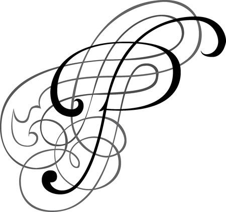 Calligraphic English alphabets, fashionable and stylish letter P Illustration