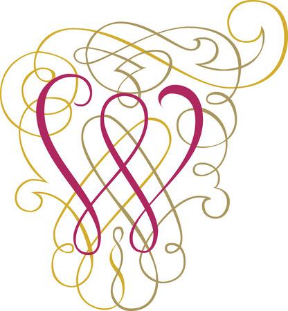Calligraphic English alphabets, fashionable and stylish letter W