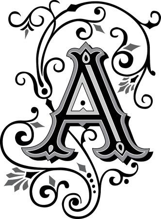 美しく装飾された英国アルファベット、手紙 A