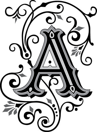 english letters: Beautifully decorated English alphabets, letter A