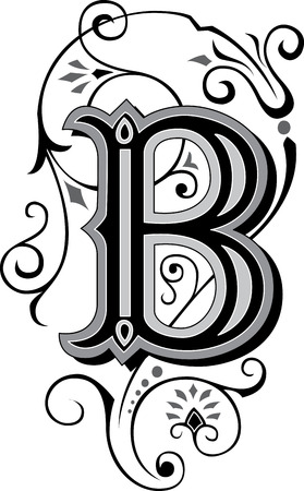 Beautifully decorated English alphabets, letter B Vector
