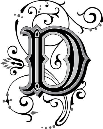 calligraphie arabe: Alphabets anglais joliment d�cor�es, lettre D Illustration