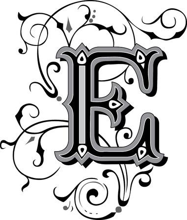 Beautifully decorated English alphabets, letter E 일러스트