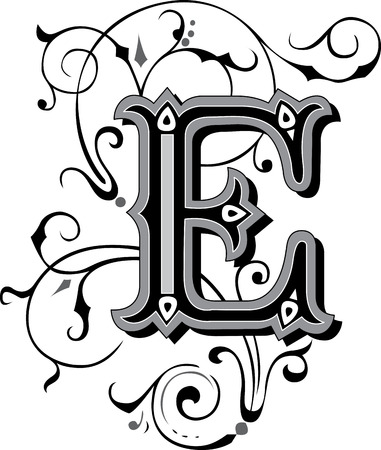 Beautifully decorated English alphabets, letter E Vector