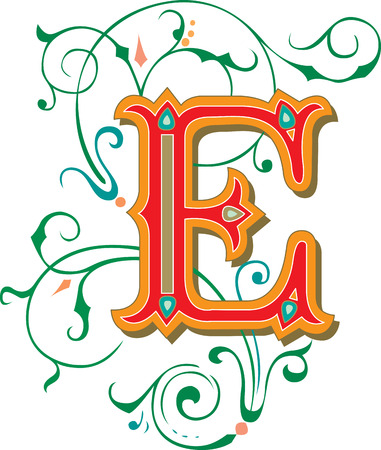 Beautifully decorated English alphabets, letter E Illustration