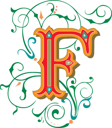 Beautifully decorated English alphabets, letter F