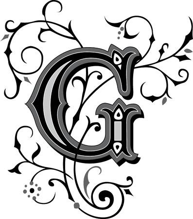 美しく装飾された英国アルファベット G 文字  イラスト・ベクター素材