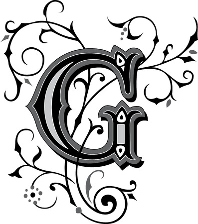 Prachtig ingericht Engels alfabetten, letter G