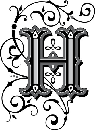 english letters: Beautifully decorated English alphabets, letter H Illustration