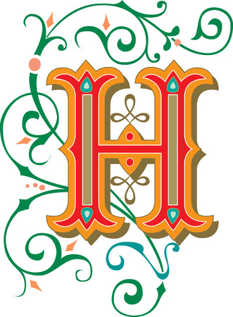 garnished: Beautifully decorated English alphabets, letter H Illustration