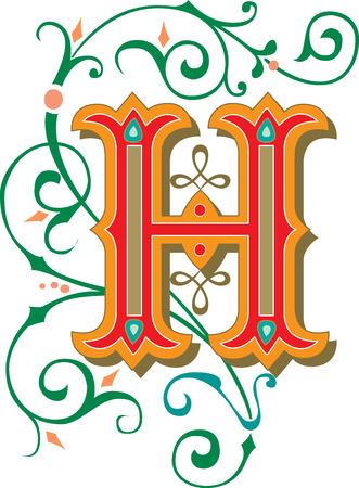 Beautifully decorated English alphabets, letter H Illustration