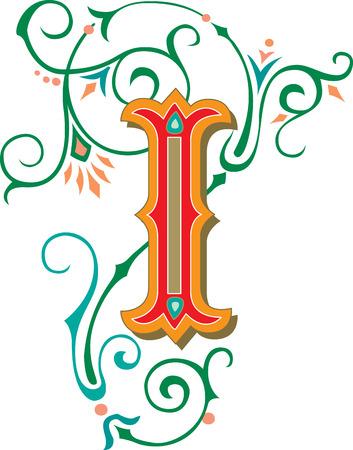 Beautifully decorated English alphabets, letter I Illustration