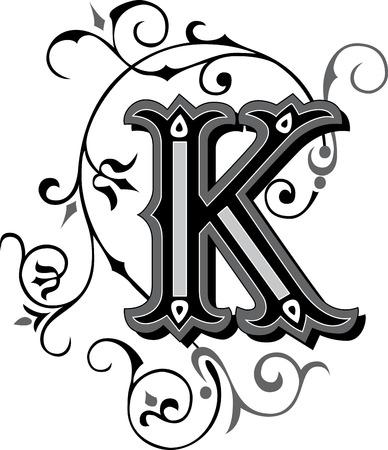 english letters: Beautifully decorated English alphabets, letter K Illustration
