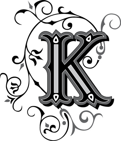 Prachtig ingericht Engels alfabetten, letter K Stock Illustratie