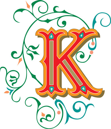 Beautifully decorated English alphabets, letter K Vector