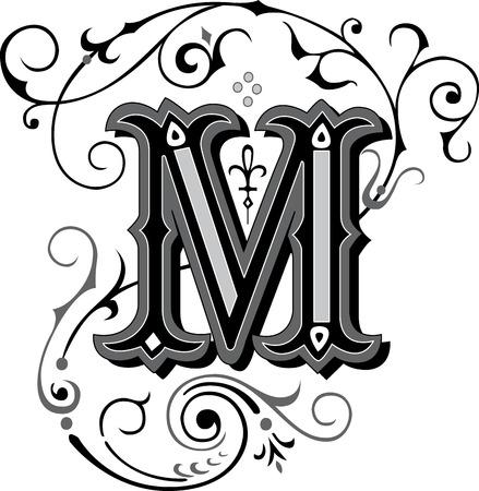 Alfabetos ingleses maravillosamente adornados, letra M Vectores