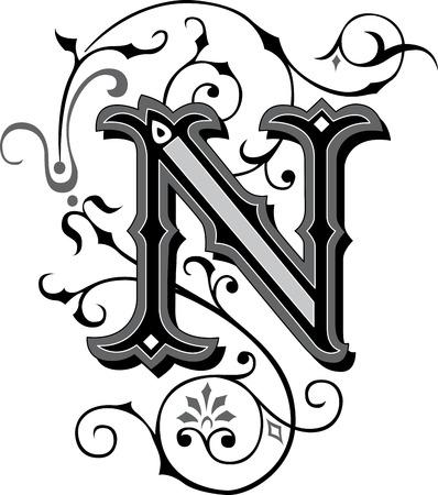 chapiteaux: Alphabets anglais joliment d�cor�es, lettre N