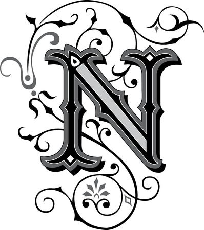 Beautifully decorated English alphabets, letter N Vector