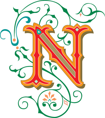 garnished: Beautifully decorated English alphabets, letter N Illustration