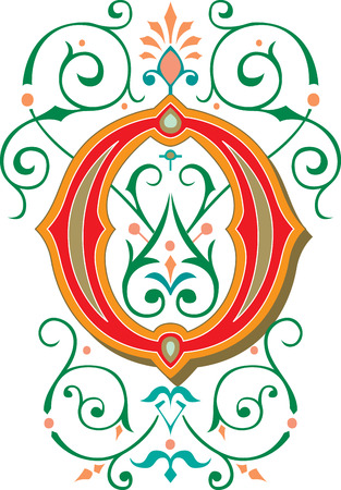 Beautifully decorated English alphabets, letter O