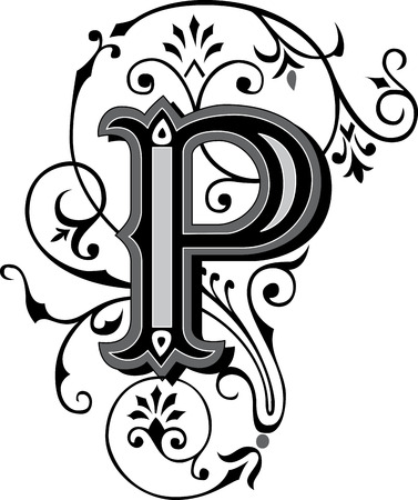 Beautifully decorated English alphabets, letter P Vector