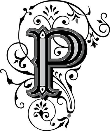 Prachtig ingericht Engels alfabet, letter P Stock Illustratie