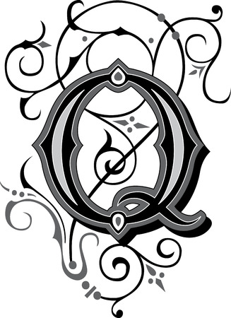 Beautifully decorated English alphabets, letter Q