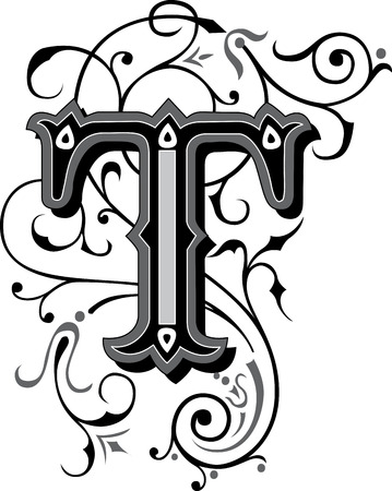 calligraphic: Beautifully decorated English alphabets, letter T Illustration