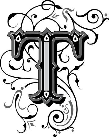 Prachtig ingericht Engels alfabetten, letter T Stock Illustratie