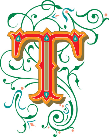 garnished: Beautifully decorated English alphabets, letter T Illustration