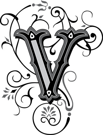 Beautifully decorated English alphabets, letter V Vector