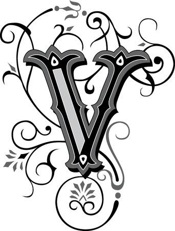 Beautifully decorated English alphabets, letter V Illustration