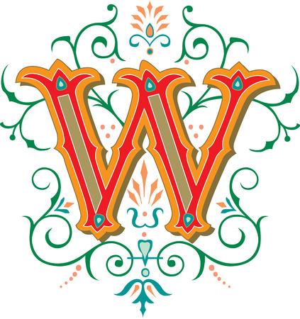 garnished: Beautifully decorated English alphabets, letter W