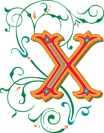 Beautifully decorated English alphabets, letter X Vector