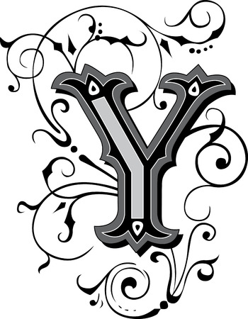 beautifully: Beautifully decorated English alphabets, letter Y