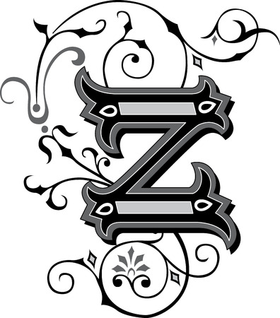 garnished: Beautifully decorated English alphabets, letter Z Illustration