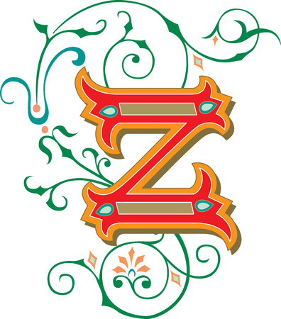 Beautifully decorated English alphabets, letter Z Illustration