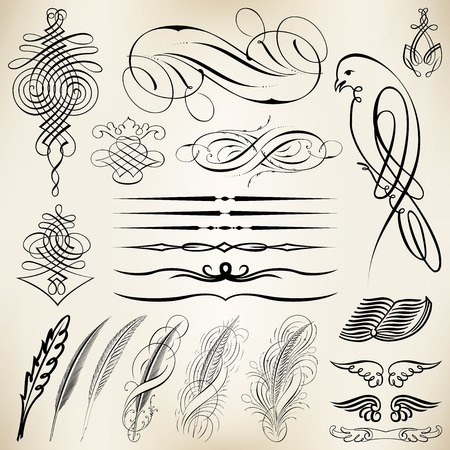 fantasia: Vector set of calligraphic design elements and page decoration