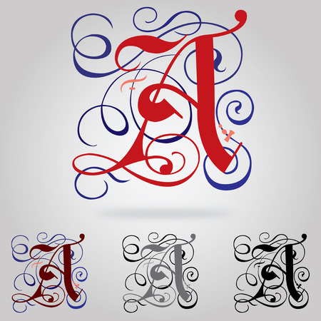 Decorated uppercase Gothic font - Letter A Illustration
