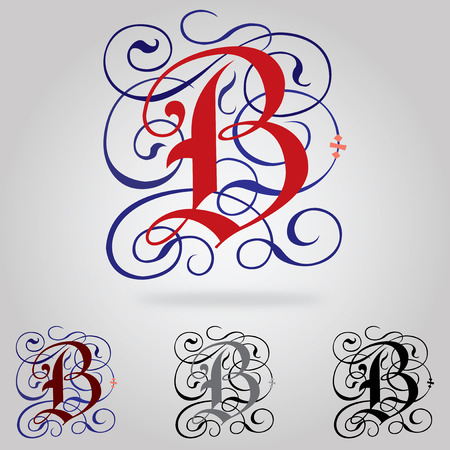 old english letters: Decorated uppercase Gothic font - Letter B