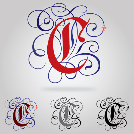 old english letter alphabet: Decorated uppercase Gothic font - Letter C Illustration