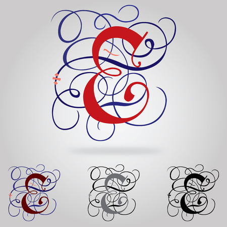 old english letters: Decorated uppercase Gothic font - Letter E