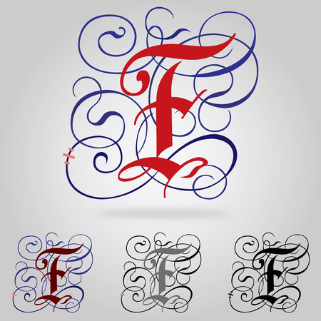 Decorated uppercase Gothic font - Letter F Vector