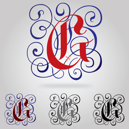 Decorated uppercase Gothic font - Letter G Vector