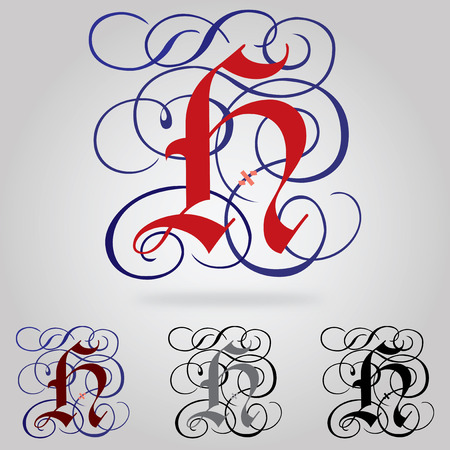 Decorated uppercase Gothic font - Letter H Vector