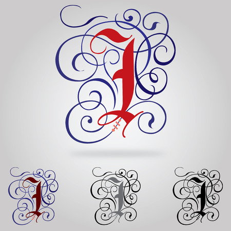 old english letter alphabet: Decorated uppercase Gothic font - Letter I