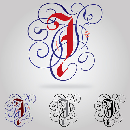 Decorated uppercase Gothic font - Letter J