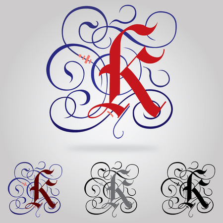Decorated uppercase Gothic font - Letter K Vector