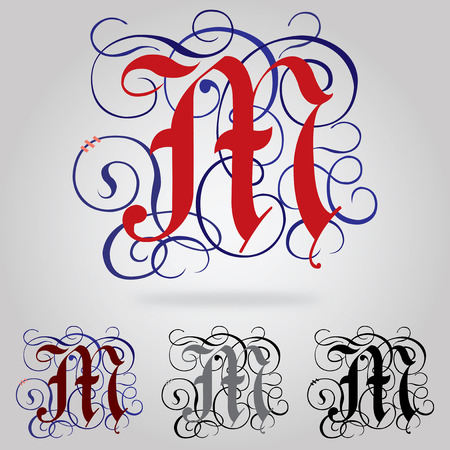 old english letter alphabet: Decorated uppercase Gothic font - Letter M Illustration